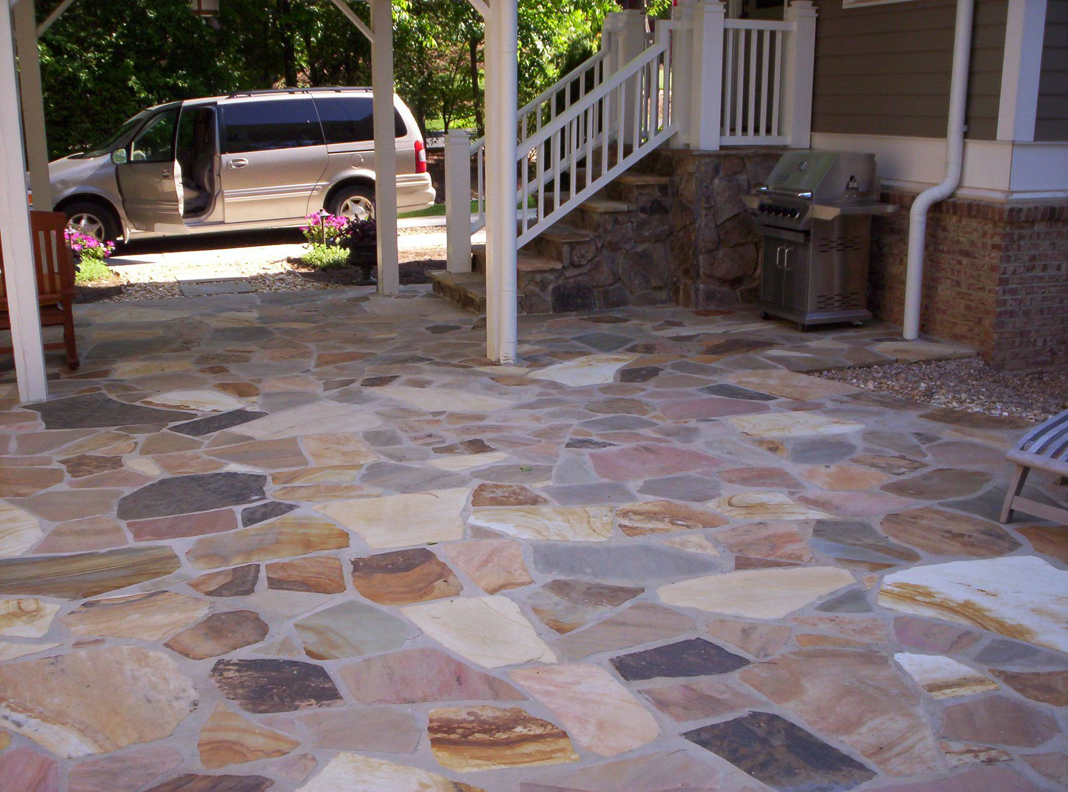 Flagstone patio and fieldstone stoop mixed colors from for Pictures of stone patios