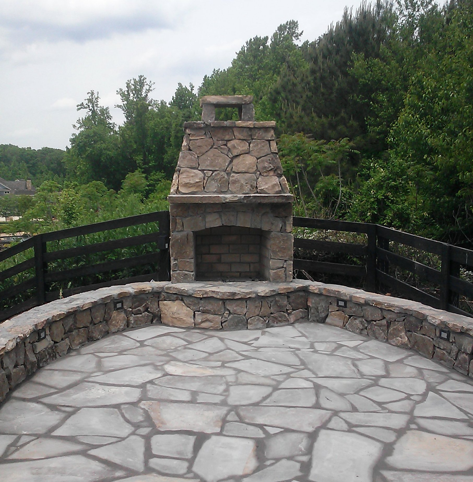 Flat Fieldstone Fireplace With Recessed Mortar And Grey Tenn Flagstone 678 923 4587